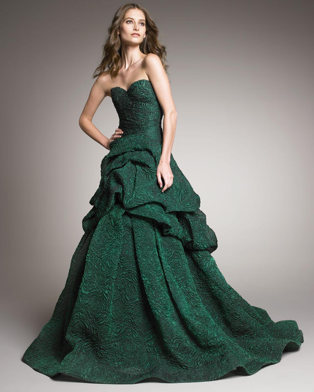 3dec8e837cb Monique Lhuillier Tufted-skirt Strapless Gown in Green - Lyst