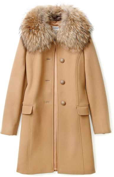 Philosophy Di Alberta Ferretti Fur Collar Coat In Beige