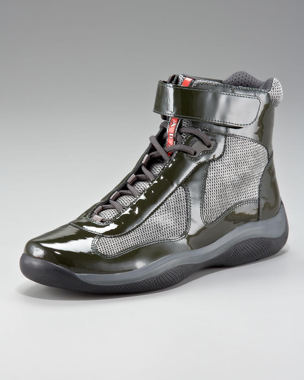 Prada Leather & Mesh Velcro High-Top Sneakers fbOTJbI5i