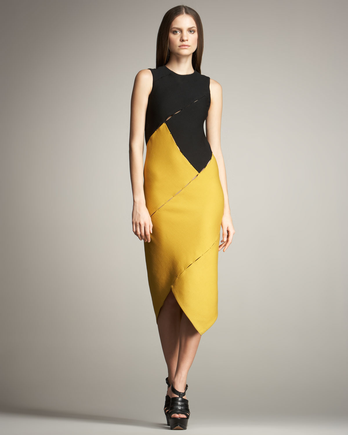 Yellow Colorblock Dress