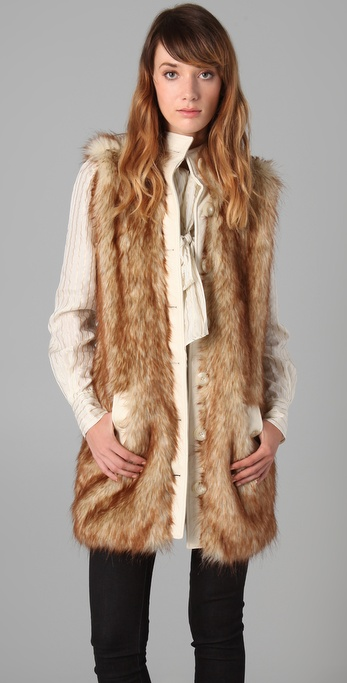 Rachel Zoe Long Faux Fur Vest In Brown Lyst