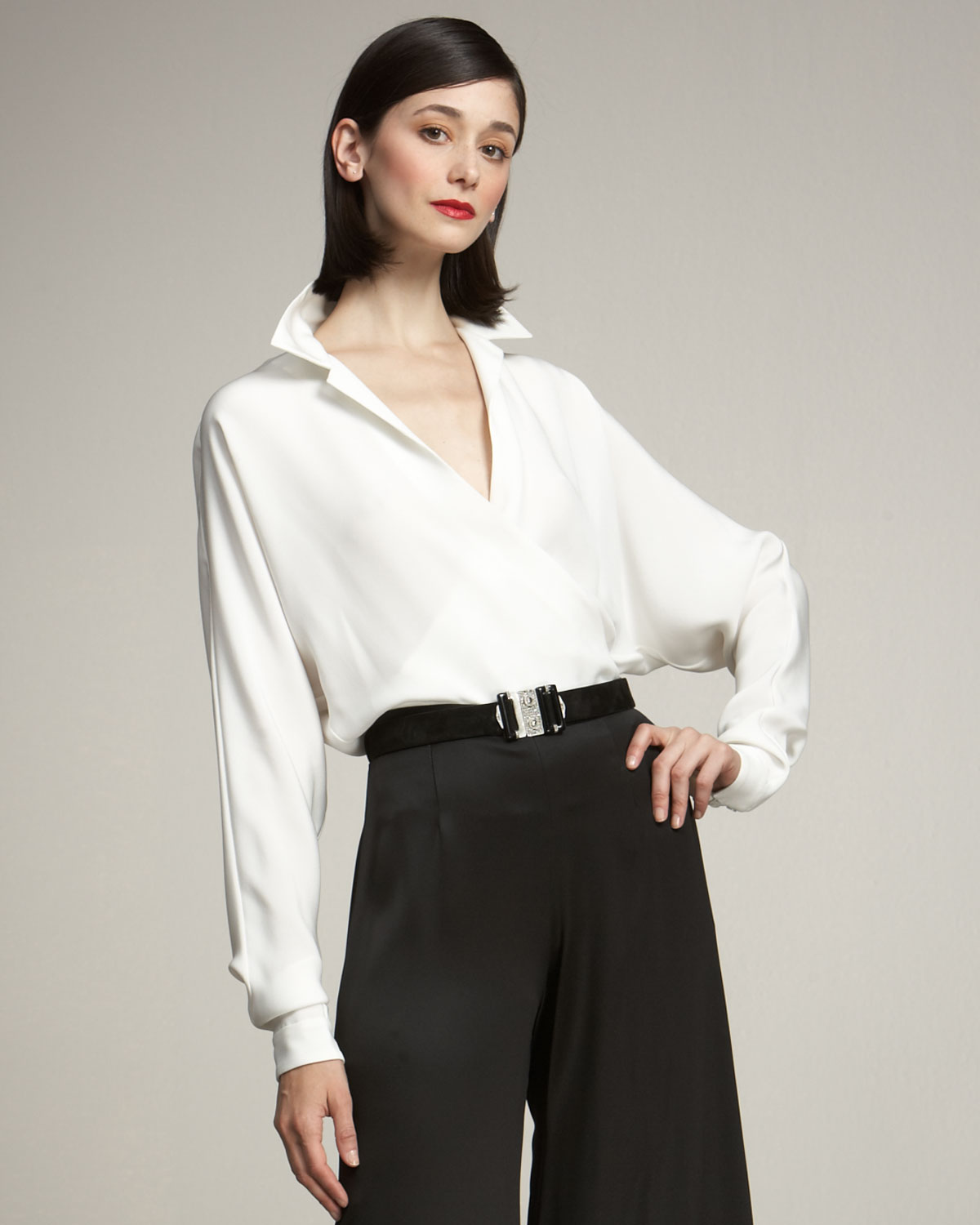Ralph lauren collection Doris Silk Wrap Blouse in White | Lyst