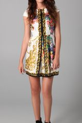 Tibi Baroque Print Dress with Cap Sleeves - Lyst