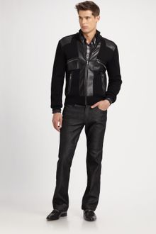 Versace Leather-trim Sweater Jacket - Lyst