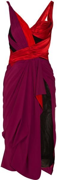Zac Posen Asymmetric Draped Silk-blend Dress - Lyst