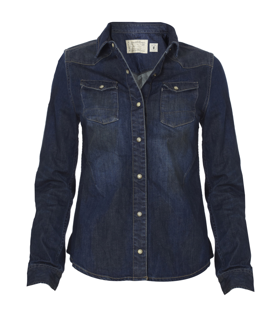 Allsaints ban denim shirt in blue indigo lyst for Indigo denim shirt womens