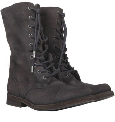 Allsaints Shearling Suede Military Boot In Black Washed