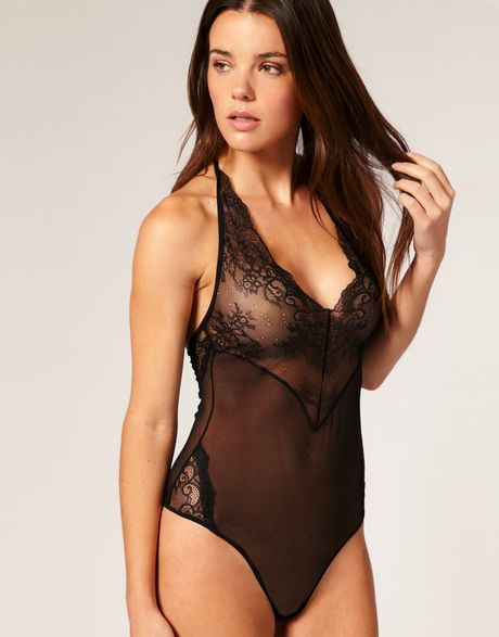 Asos Collection Asos Boudoir Lace and Mesh Halter Neck Body in Black - Lyst