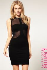 ASOS Collection Asos Petite Exclusive Bodycon Dress with Mesh Insert - Lyst