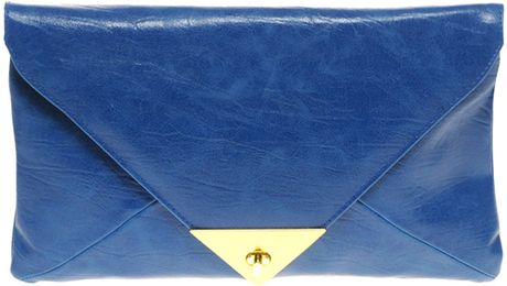 Asos Collection Asos Pyramid Metal Tip Clutch in Blue - Lyst