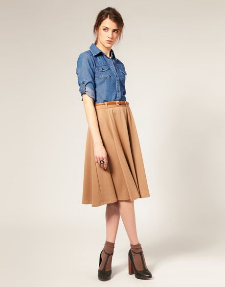 Asos Collection Asos Midi Tailored Belted Ponti Fit and Flare Skirt in Beige (camel) - Lyst