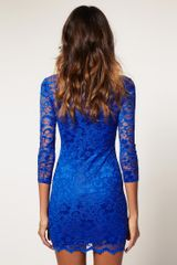 Asos Collection Asos Lace Dress with Scalloped Neck in Red - Lyst
