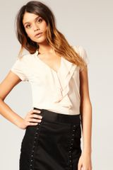 Asos Collection Asos Chiffon Frill Blouse in Beige (cream) - Lyst