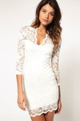 Asos Collection Asos Lace Dress with Scalloped Neck in White (cream) - Lyst
