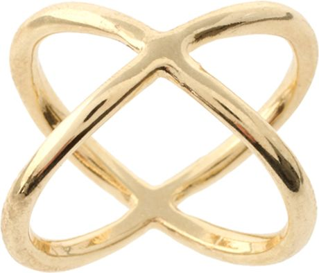 Asos Collection Asos Metal Kiss Ring in Gold - Lyst