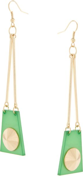 ASOS Collection Asos Drop Earring with Resin Traingle & Stud Detail - Lyst