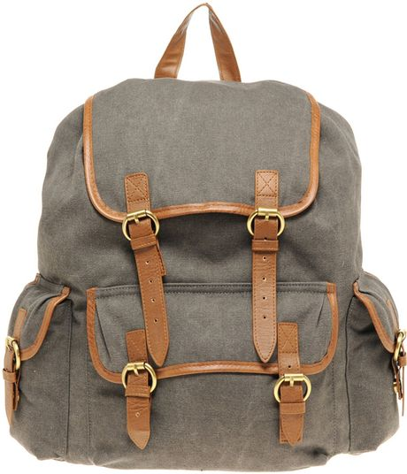 Asos Collection Asos Washed Canvas Rucksack in Gray (grey)