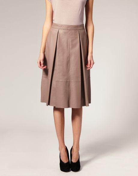 asos collection asos white leather midi skirt in beige