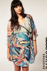 ASOS Collection Asos Curve Exclusive Palm Print Kimono Dress - Lyst