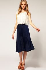ASOS Collection Asos Pleated Midi Skirt - Lyst