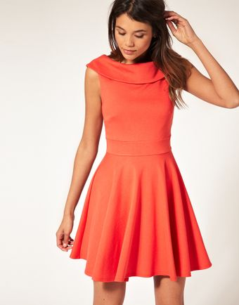 ASOS Collection Asos Ponti Fit and Flare Dress with Boat Neck - Lyst