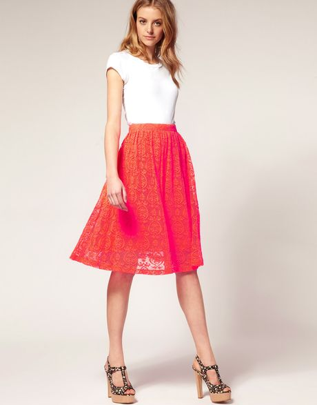 asos collection asos neon lace midi skirt in pink lyst