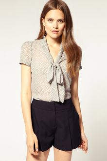 ASOS Collection Asos Spotty Pussybow Blouse - Lyst