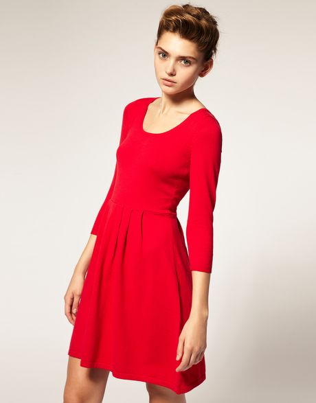 Asos Collection Asos Knitted Dress with Zip Back in Red - Lyst