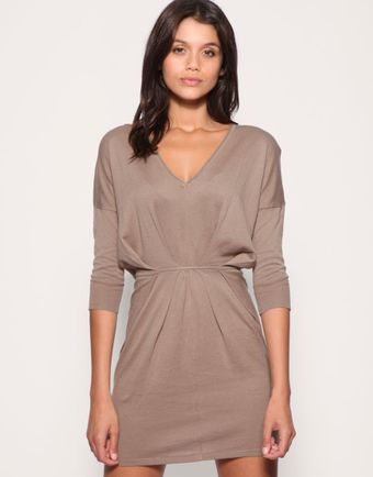 ASOS Collection Asos V-neck Pleat Waist Knitted Dress - Lyst