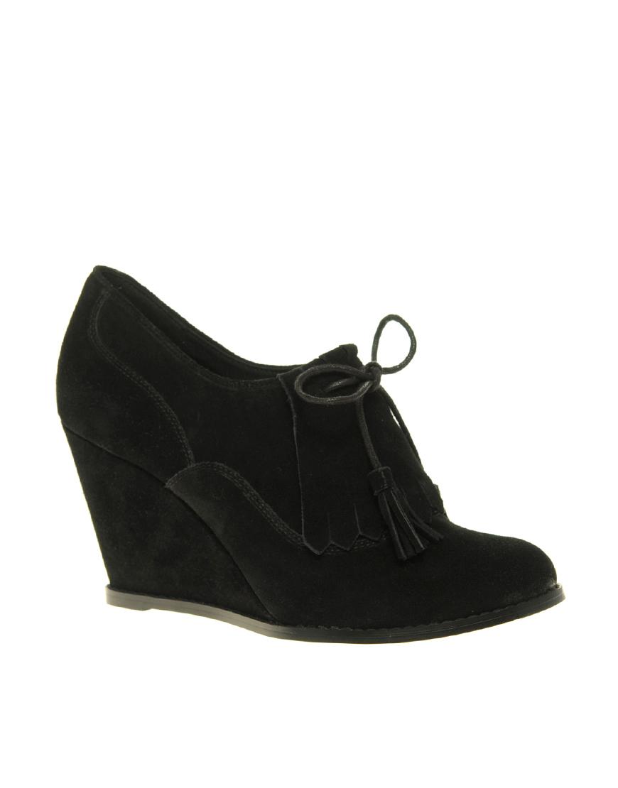 asos asos tassel suede wedge shoe boot in black lyst