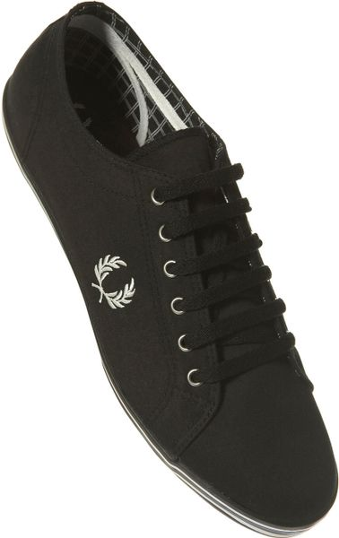 Fred Perry Twill Plimsolls in Black for Men - Lyst