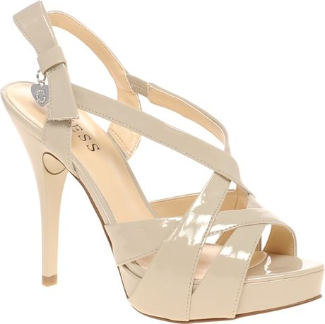 Guess Anamaria B Strappy Evening Sandals in Beige
