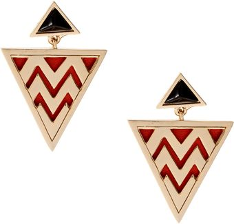 House Of Harlow 14ct Gold Plated Triangular Zig Zag Tribal Earrings - Lyst