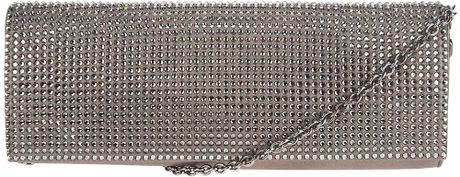 Rodo Metallic Embellished Clutch in Silver - Lyst