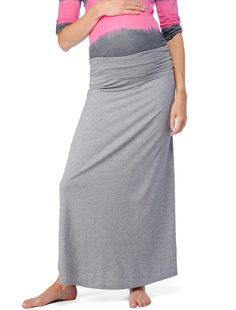 splendid maternity modal lycra maxi skirt in gray