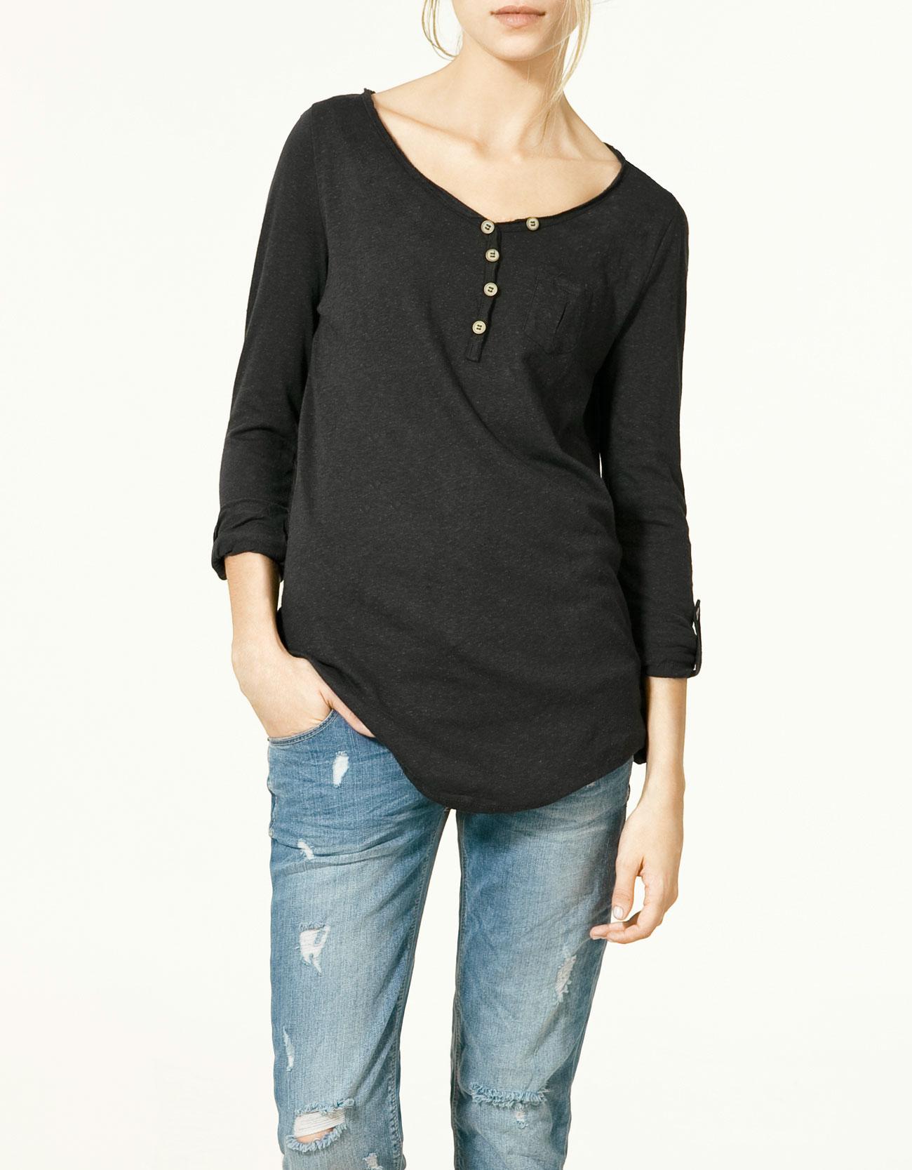 Zara button neck t shirt in black 835 lyst for Button collar t shirt