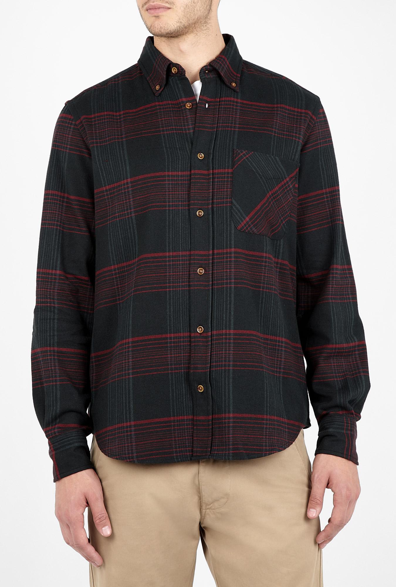 Adam kimmel x carhartt black plaid flannel button collar for Black watch plaid flannel shirt