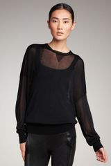 Alexander Wang Sheer Knit Sweatshirt - Lyst