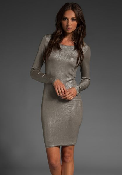 Alice + Olivia Tabitha Dress in Gray (silver) - Lyst