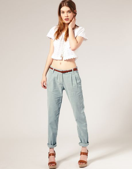 Asos Collection Asos Cord Peg Trousers in Blue (babyblue)