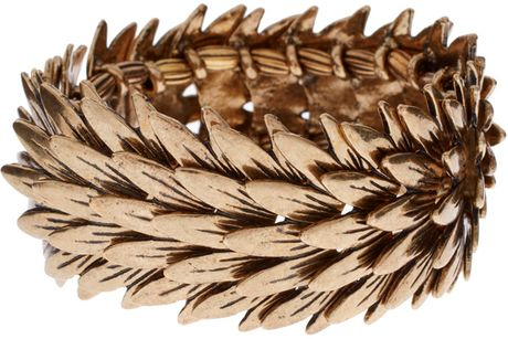 Asos Collection Asos Spiky Leaves Stretch Bracelet in Gold - Lyst
