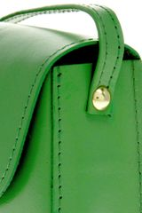 Asos Collection Asos Leather Mini Twist Lock Saddle Bag in Green - Lyst