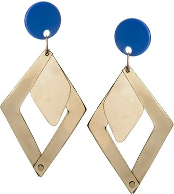 Asos Statement Angular Brass Earrings With Perspex Stud Detail - Lyst