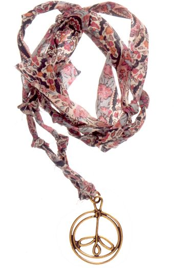 Aurelie Bidermann Charm Necklace Bronze On Pink Liberty Thread - Lyst