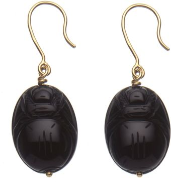 Aurelie Bidermann Gold and Onyx Scarab Earrings - Lyst