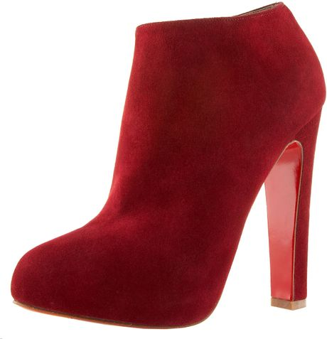 Christian Louboutin Suede Thickheel Bootie in Red (black) - Lyst