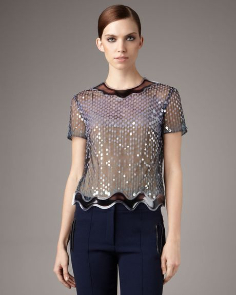 Christopher Kane Aquatrim Sequin Top in Blue (black) - Lyst