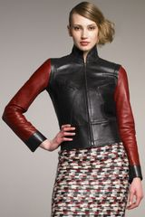 Derek Lam Red-sleeve Leather-knit Jacket - Lyst
