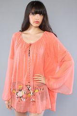 Free People The Meadows Embroidered Chiffon Top - Lyst