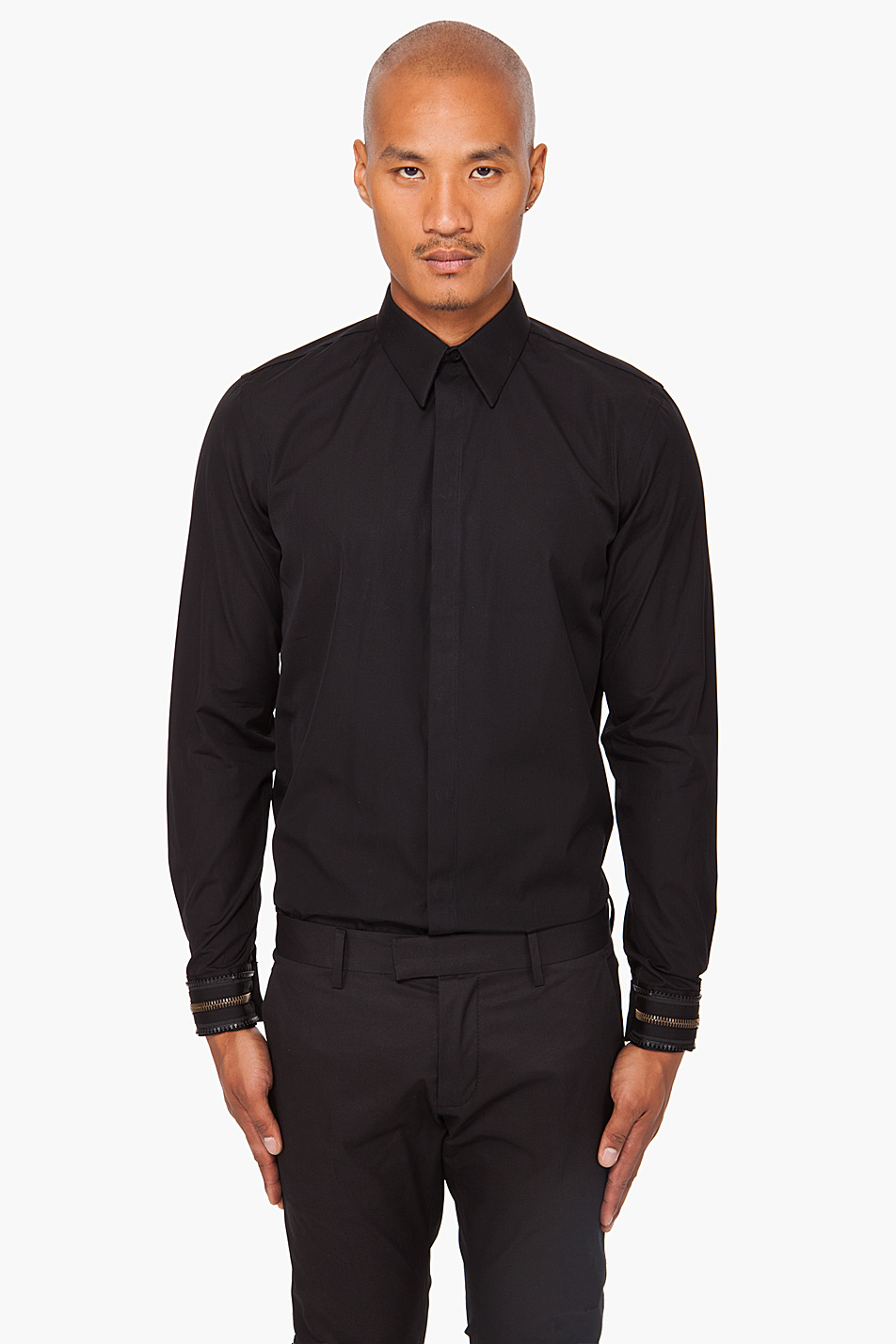 Givenchy Zip Cuff Button Down Shirt In Black For Men Lyst